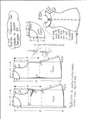 Esquema de modelagem de vestido chamesier com babado tamanho 50.