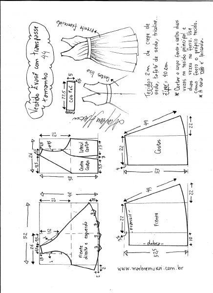Esquema de modelagem de vestido evasê com transpasse tamanho 44.