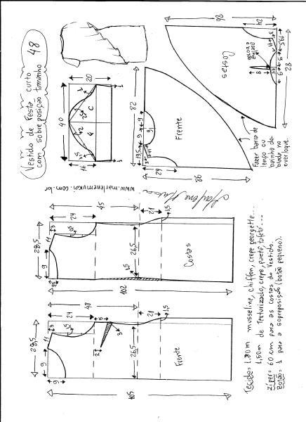 Esquema de modelagem de vestido de festa com sobreposição tamanho 48.