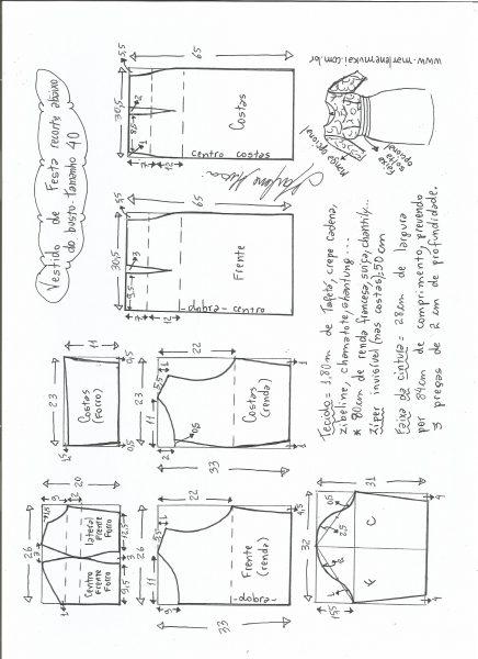 Esquema de modelagem de vestido de festa com recorte abaixo do busto tamanho 40.