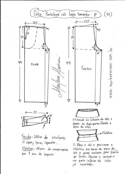 Esquema de modelagem de calça pantalona de cós largo tamanho P.
