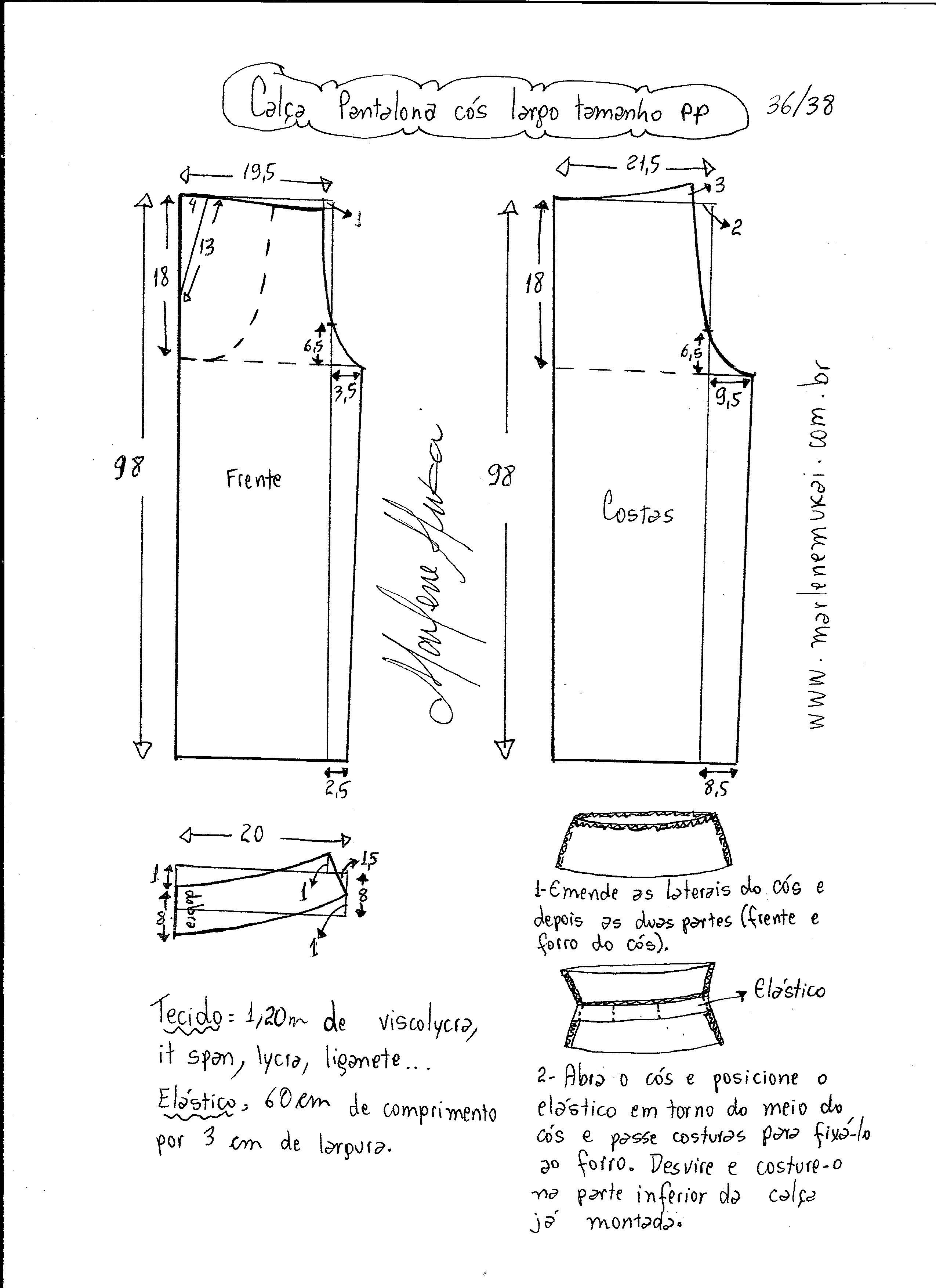 6473aed3b Esquema de modelagem de calça pantalona de cós largo tamanho PP.