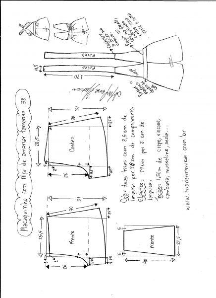 Esquema de modelagem de macaquinho de alças cruzadas tamanho 38.