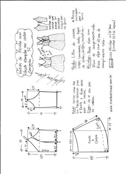 Esquema de modelagem de vestido de alcinha e decote costas tamanho 52.
