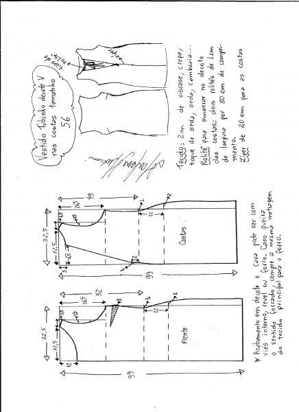 Esquema de modelagem de vestido tubinho com decote nas costas tamanho 56.
