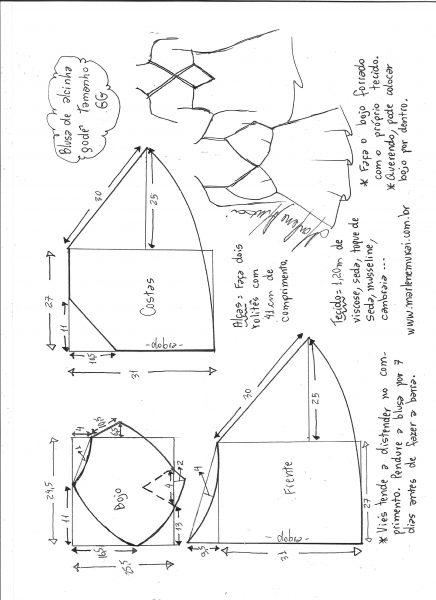 Esquema de modelagem de blusa de alcinha godê tamanho GG.
