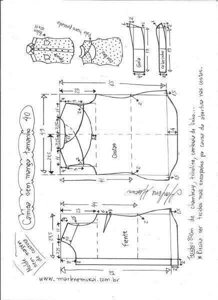 Esquema de modelagem de camisa sem manga com abertura nas costas tamanho 40.