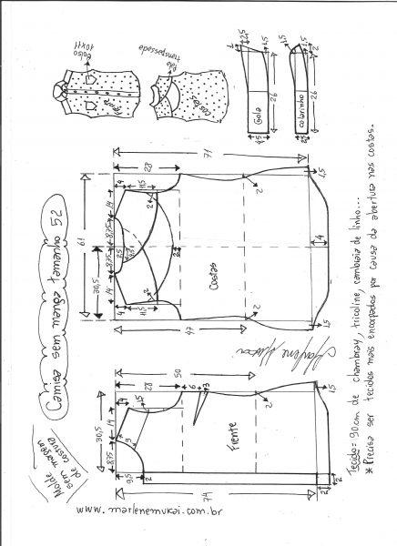 Esquema de modelagem de camisa sem manga com abertura nas costas tamanho 52.