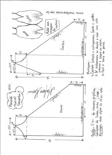 Esquema de modelagem de macacão saruel indiano P.