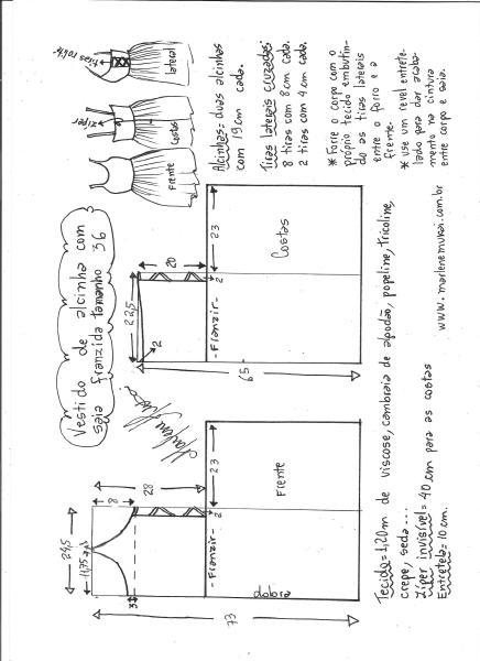 Esquema de modelagem de vestido de alcinha saia franzida tamanho 36.