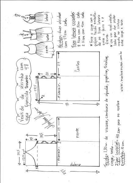 Esquema de modelagem de vestido de alcinha saia franzida tamanho 48.