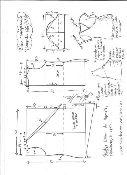 Esquema de modelagem de blusa transpassada de malha tamanho GG.