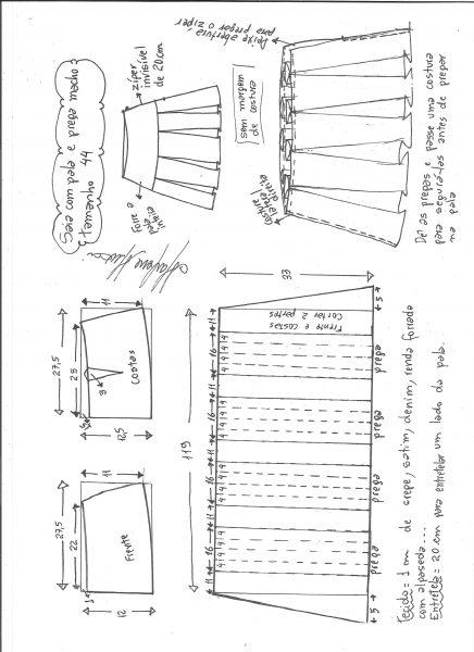Esquema de modelagem de saia com pala e pregas macho tamanho 44.