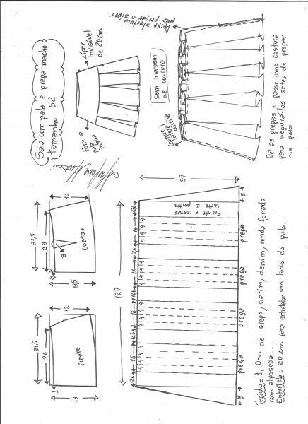 Esquema de modelagem de saia com pala e pregas macho tamanho 52.