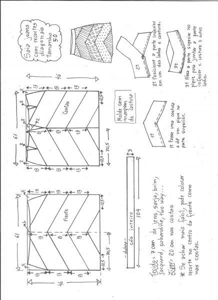 Esquema de modelagem de saia jeans com recortes tamanho 50.