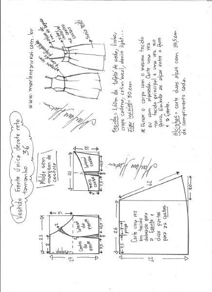 Esquema de modelagem de vestido frente única e decote reto tamanho 36.