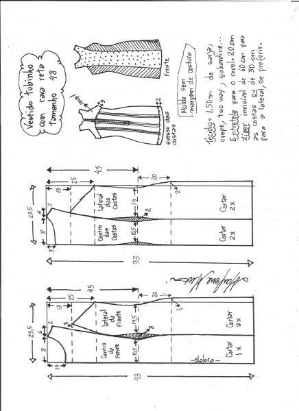 Esquema de modelagem de vestido tubinho cava reta tamanho 48.