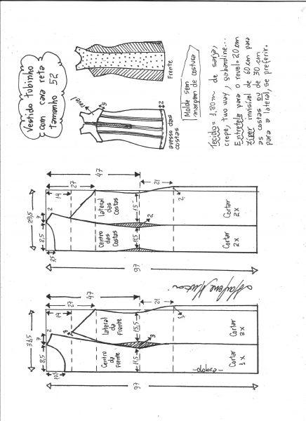 Esquema de modelagem de vestido tubinho cava reta tamanho 52.