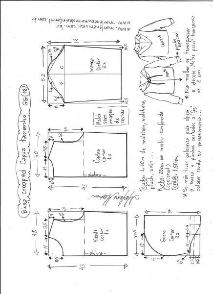 Esquema de modelagem de blusa cropped com capuz tamanho GG.