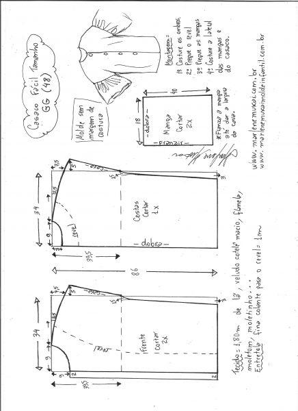Esquema de modelagem de casaco sobretudo fácil GG.