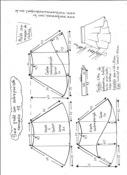 Esquema de modelagem de saia godê com sobreposição tamanho 48.
