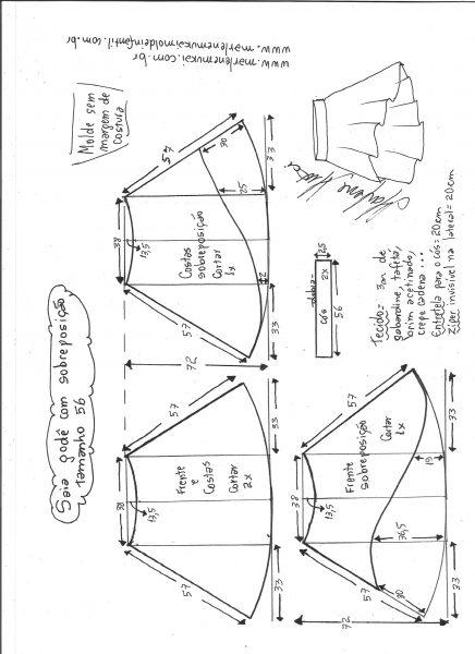 Esquema de modelagem de saia godê com sobreposição tamanho 56.