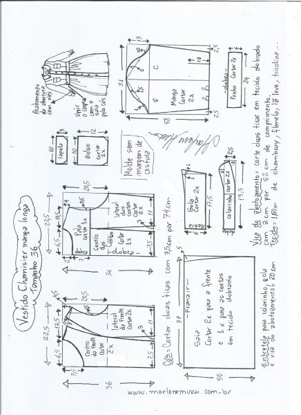 Esquema de modelagem  vestido chamesier manga longa saia franzida tamanho 36