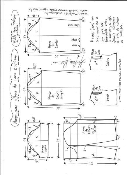Esquema de modelagem de mangas curta, de casaco, camisa e alfaiate para altura de cava de 25,5 cm.
