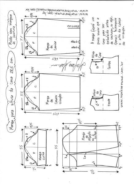 Esquema de modelagem de mangas curta, de casaco, camisa e alfaiate para altura de cava de 28,5 cm.