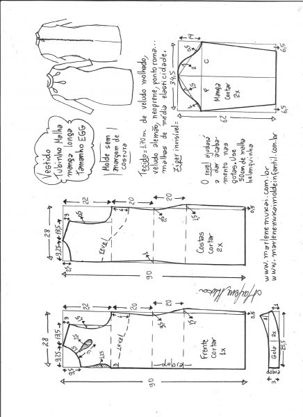 Esquema de modelagem de vestido tubinho malha manga longa tamanho EGG.