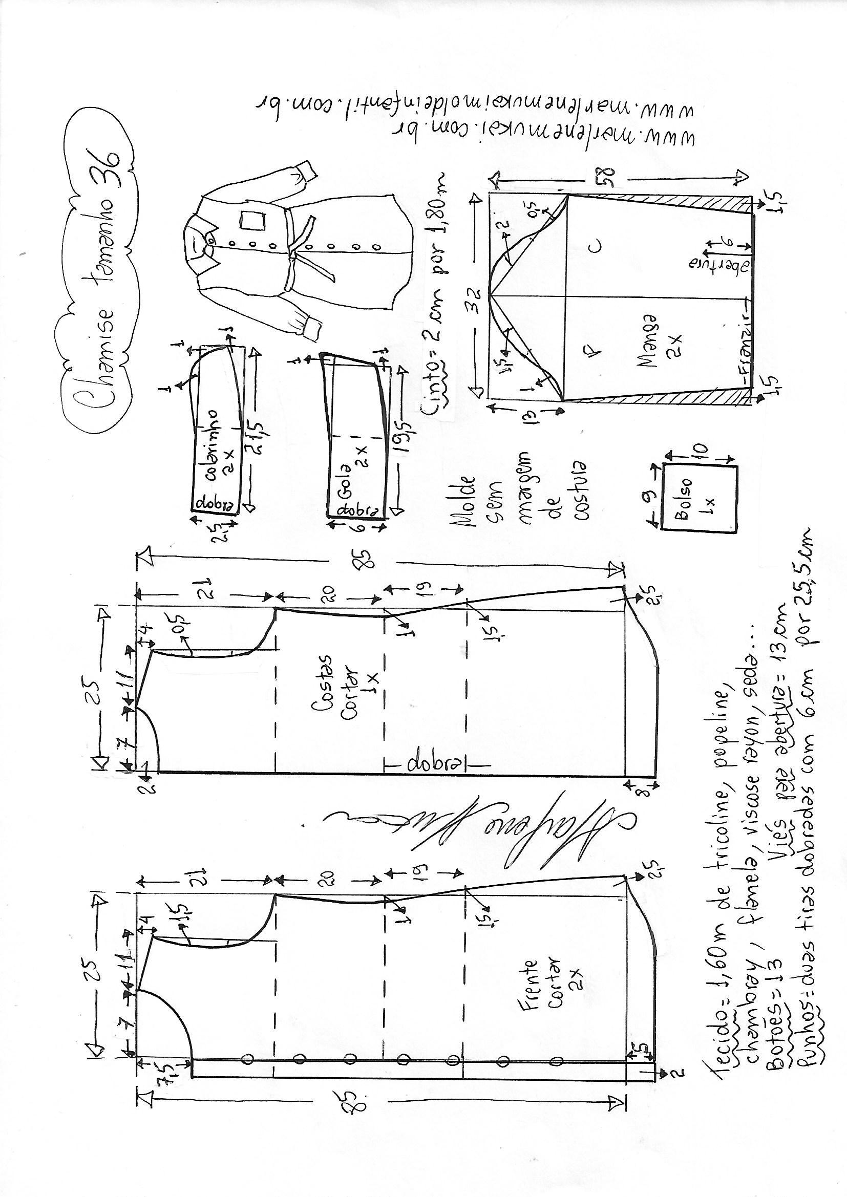 2f5f9582e0ce1f Camisão chemise | DIY - molde, corte e costura - Marlene Mukai