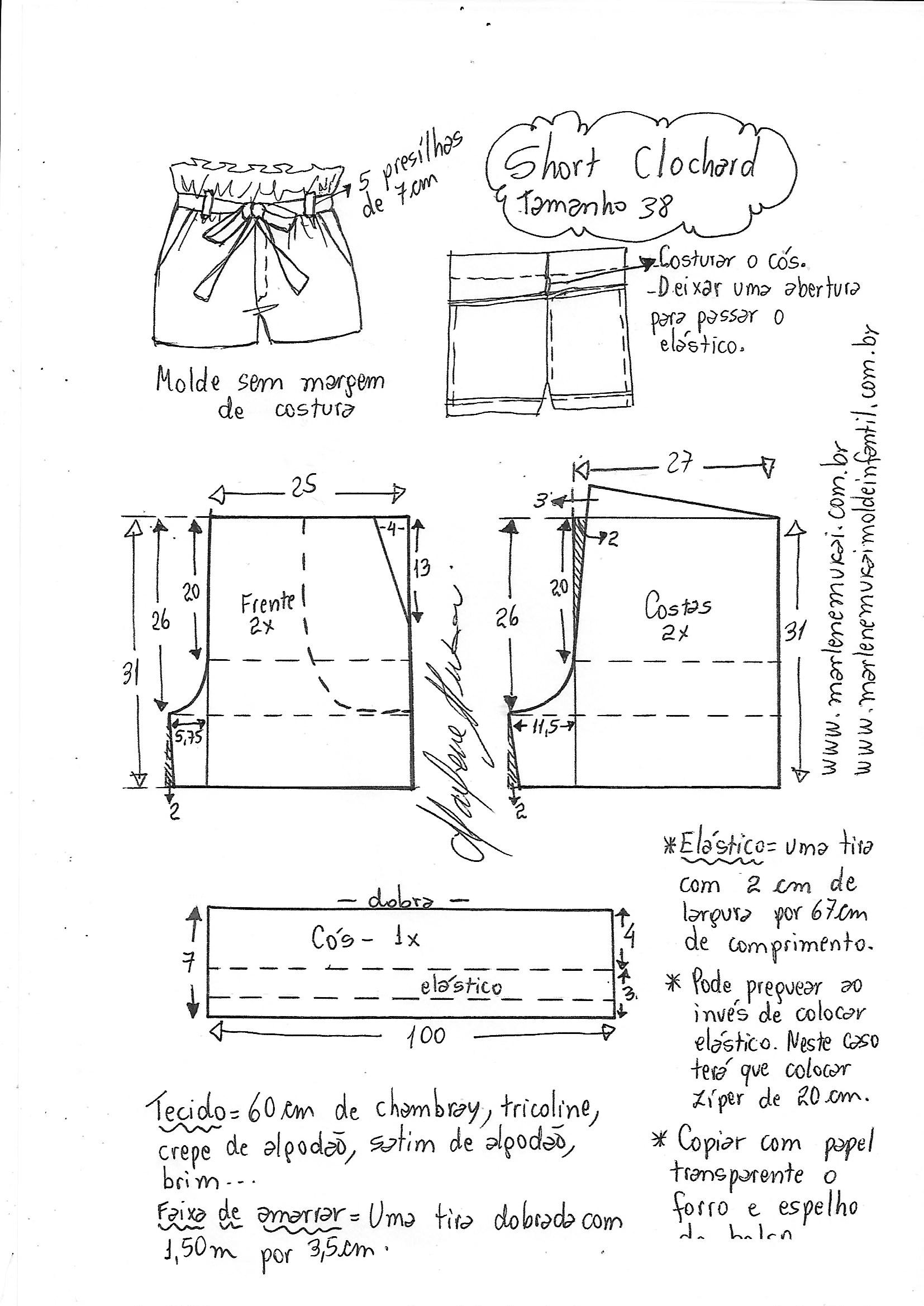 d698bf3641188c Short Clochard | DIY - molde, corte e costura - Marlene Mukai
