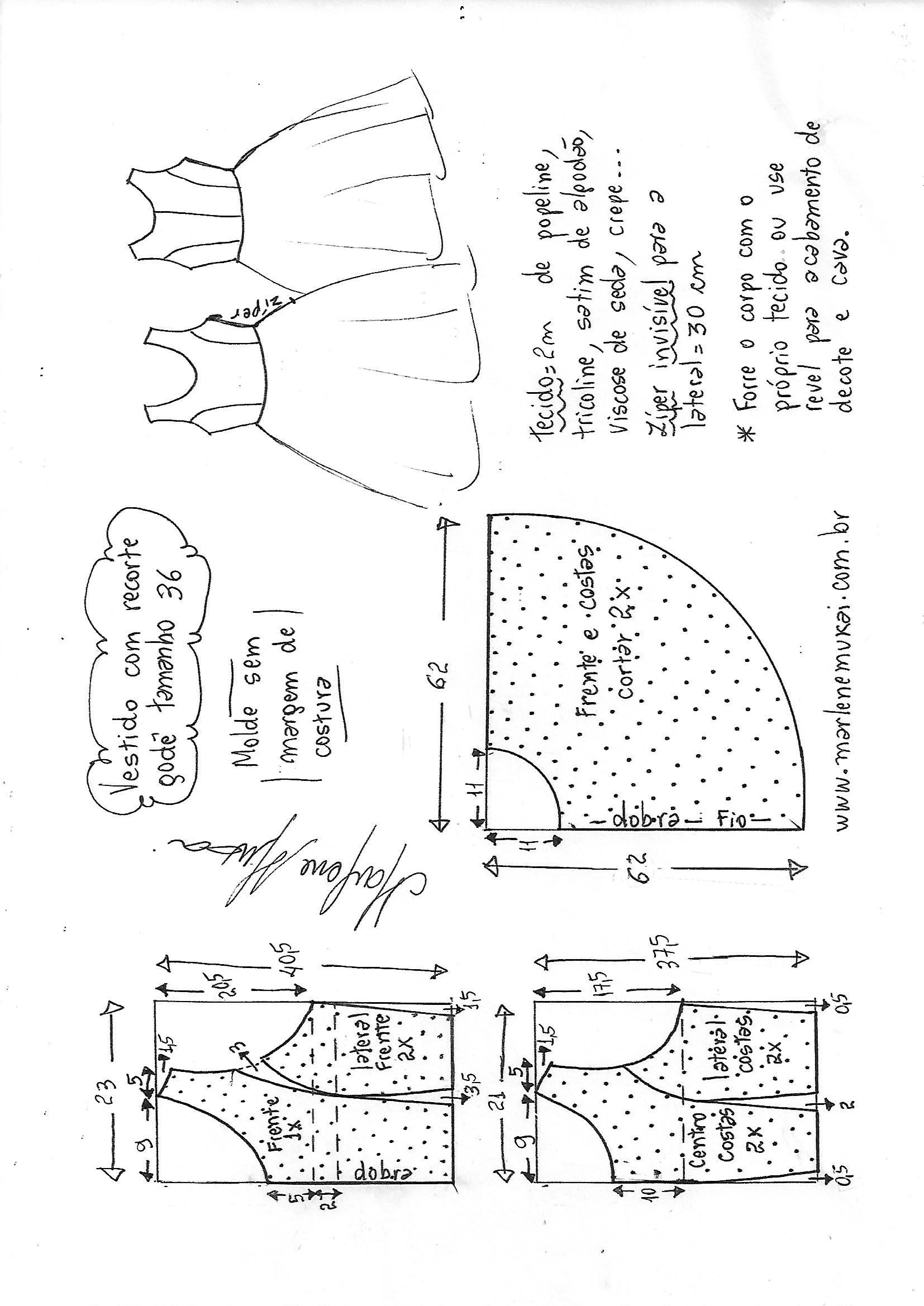 6b5602e9c Vestido com recorte princesa godê | DIY - molde, corte e costura ...