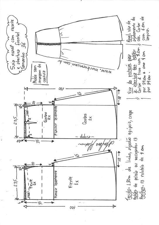 a10f56ef8 Saia longa evasê com abertura frontal | DIY - molde, corte e costura ...