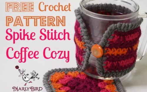 Spike Stitch Coffee Cozy Free Pattern @ MarlyBird.com