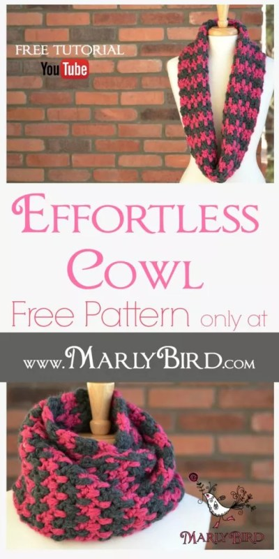 Effortless_ Cowl Pattern FREE at www.MarlyBird.com