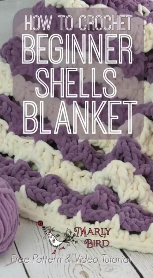 Crochet Beginner Shells Blanket by Marly Bird Free Pattern and Video Tutorial