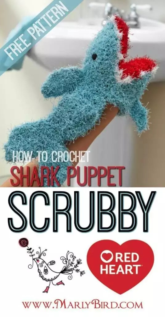 How to Crochet the Shark Washcloth Puppet Scrubby