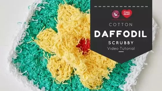 Daffodil Scrubby Pattern Free Crochet Pattern and Video Tutorial with Marly Bird