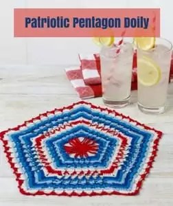 Patriotic Pentagon Doily Free Patriotic Crochet Pattern from Red Heart