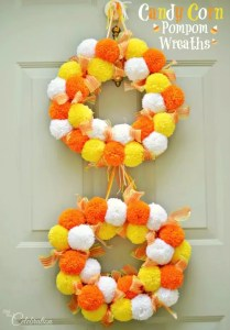 Candy Corn Pom Pom Wreath