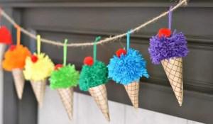 Ice Cream Cone Pom Pom Garland