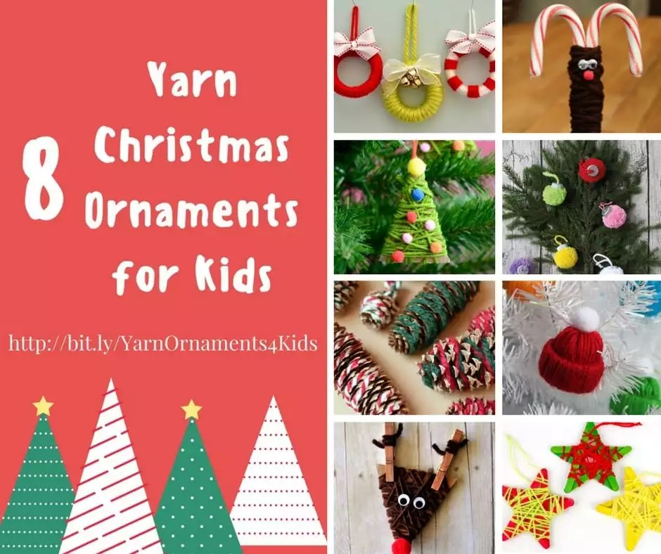 8 Yarn Christmas Ornaments for Kids