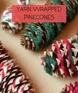 Yarn Wrapped Pinecone Ornaments