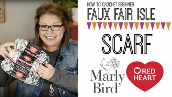 Video Tutorial with Marly Bird How to crochet the Faux Fair Isle Crochet Scarf