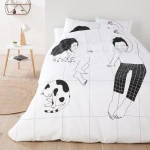 housse couette blanche illustration femme homme chat la redoute marmille 300x300 - Ma sélection shopping pour commencer l'année en douceur