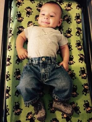 Julian wearing his booties!