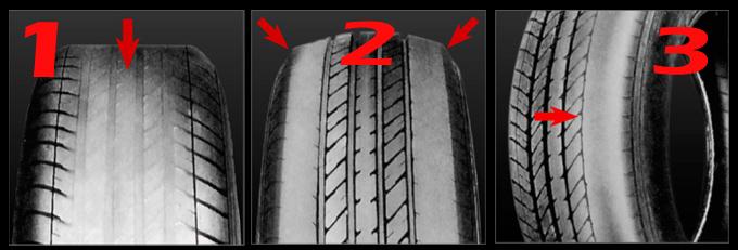 Diferentes tipos de desgaste del neumático