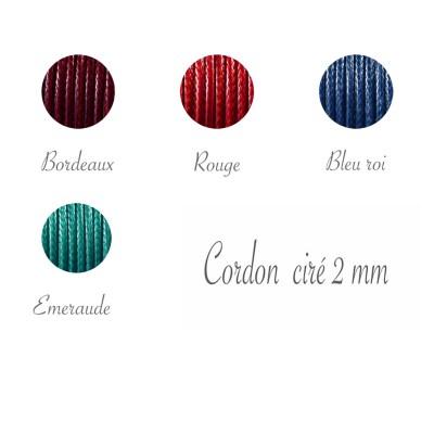 Remplacement de cordon ciré 2 mm pour bracelet