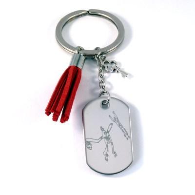 Porte-clés Pierce avec dessin d'enfant